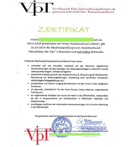 Urkunde zur Prüfung zum Assistenzhund